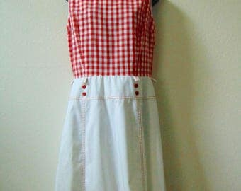 1970s red gingham dress, scooter dress, large vintage dress, picnic dress, mad men dress, pin up dress, sleeveless dress, summer dress, day