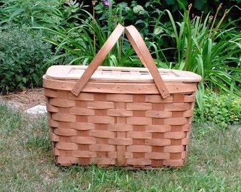 Vintage Wooden Weave Picnic Basket - Wooden Picnic Basket - Storage Basket