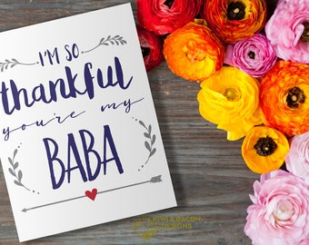 Indian Greeting Card Printable - Thankful You're My Baba - Dad, Daddy, Grandfather, Grandpa, Father's Day Card, Best Grandpa, Card for Dad