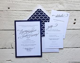 Simply Elegant Wedding Invitation, Stationery Set, Wedding Suite, Invite Response Details, Invitation Set DEPOSIT