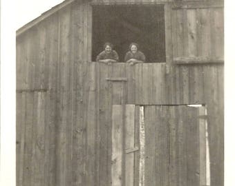 """Vintage Snapshot """"View From The Hayloft"""" Barn Stable Hay Straw Rural America Found Vernacular Photo"""