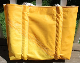 Recycled yellow sail bag