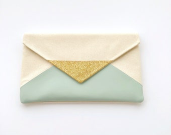 Mint Glitter Envelope Clutch, Glitter bridesmaid clutch, bridesmaid gift, wedding clutch, wedding gift, seafoam bag, gift for her