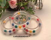 Clear Rattle Ring // 3 inch // Baby Toy // Rattle Ball // Noise Makers // Toy Insert // Craft Supplies // Toy Making / Red Blue Yellow Green