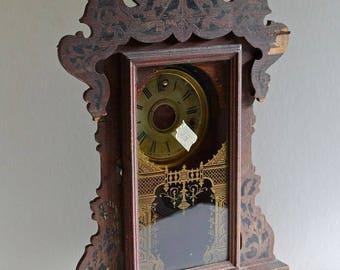 Antique mantle Clock housing Case Seth Thomas wood Parlor clock 1900 shelf clock Shrine display box