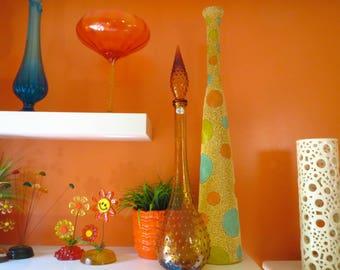 Vintage 1960s MID Century Modern Amber Gold Guildcraft Italy Genie Bottle Decanter Art Glass