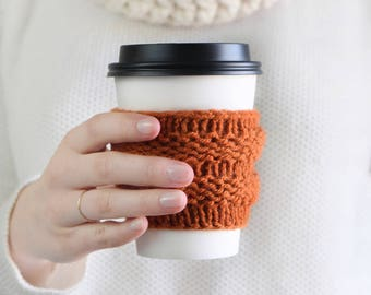 Pumpkin Spice Coffee Cozy Knit Cup Holder for Starbucks / Orange Fall Autumn Knit Accessory / Beer Cozy Mug Cozie Coffee Pumpkin Spice Style