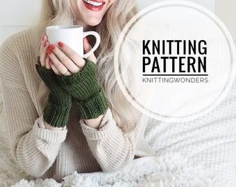 KNITTING PATTERN ⨯ Fingerless Gloves, Wrist Warmers ⨯ Beginner Easy Knit Pattern PDF, Commuter Gloves ⨯ Fingerless Knit Mitts Fall Fashion