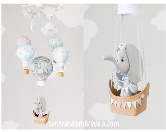 Gender Neutral Hot Air Balloon Baby Mobile, Elephant Nursery Decor, Travel Theme Nursery, Lavender, Blue and Gray, i250