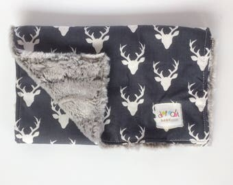 Oh Deer! Navy White -  Baby Boy Burp Cloth Rag + Bib Gray faux fur silver fox minky woodland antlers stag - cotton