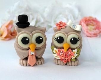 Owl love bird custom wedding cake topper, orchid bouquet, bride and groom cake topper, orchid wedding, custom hand made cake topper