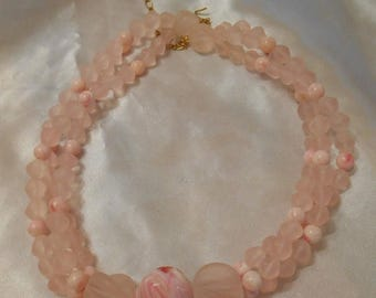 50% Off Sale Avon Sheer Style Triple Strand Pink Frosted Bead Necklace