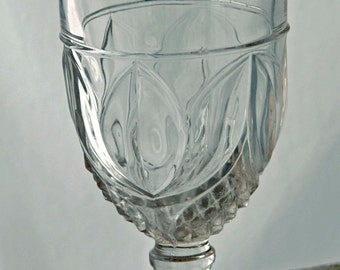 Antique Footed TULIP w/ SAWTOOTH 3 Mold, Non-Flint Pattern Glass CELERY Vase Late 1800s, Excellent Condition