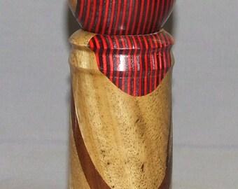 Exotic wood and Birchwood veneer, crush grind pepper mill, Item 343548