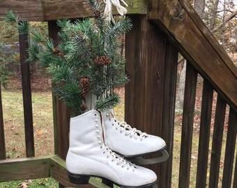 White Ice Skates / White Boot Skates / Christmas Decor / Ice Skate Wreath / Winter Decor / Ice Skates / Snow Decor