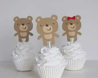 Teddy Bear Cupcake Toppers Set of 12 for Baby Shower and Birthday Party Decor