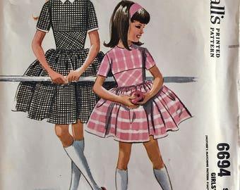 Vintage 1962 McCall's Girls' Dress Pattern 6694 Size 7