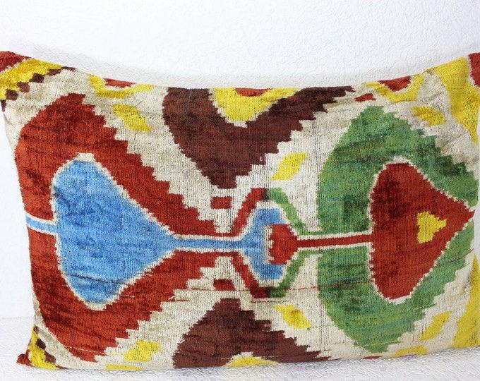 Silk Velvet Ikat Pillow Cover Lp416, Bohemian pillow, Velvet Ikat Pillow, Velvet Pillow, Velvet Pillow Cover, Ikat Pillows, Throw Pillows