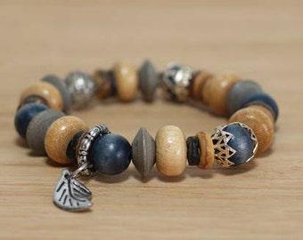 Wood and Metal Bracelet, Bracelet Set, Wood Bracelet, Hippie Jewelry, Wood Bead Bracelet, Statement Bracelet