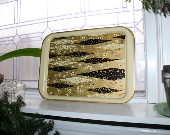 1960s Metal Serving Tray Black and Gold Mid Century Mod 10 Available