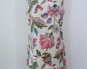 60's Paisley Lotus Linen Dress Shift Sheath Sleeveless Floral Day Sundress L