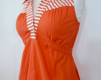 70's Mod Pointy Collar Shirt Dress Empire Waist Cotton Orange Striped Tie Back Sleeveless Sundress S