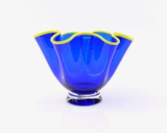 Hand Blown Glass Bowl in Cobalt Blue