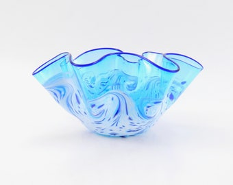 Large Hand Blown Art Glass Bowl in Aqua Blue