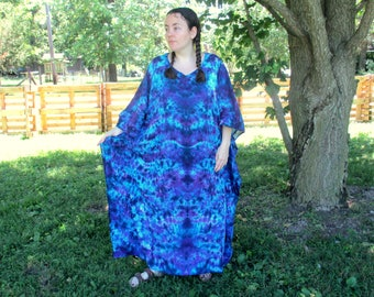 Tie Dye Caftan Poncho, Adult and  Plus Size Tie Dye Dress, Midnight Crush Tie Dye,  L XL 2X 3X