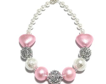 Toddler or Girls Silver, White and Pink Heart Chunky Necklace - Princess Chunky Necklace - Light Pink Heart Necklace - Valentines Necklace