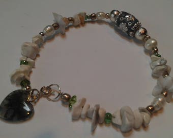 Summer Anklet SALE, Magnesite, White, Green Fourite, Jade Heart Anklet or Bracelet, Lampwork Bead, Gemstone Anklet, Summer Jewelry Sale