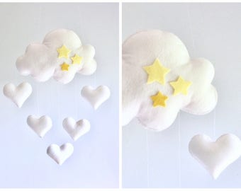READY TO SHIP - Baby mobile - Cloud mobile - hearts mobile - yellow and gray mobile - neutral mobile - white mobile