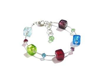 Murano Glass Bracelet, Italian Jewelry, Venetian Glass Jewelry, Cube Bracelet, Colorful Bracelet, Sterling Silver Bracelet, Gift For Her