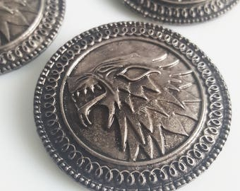 Stark Shield Metal Pin Badge, House Stark Brooch, Game of Thrones Inspired Fan Art Handmade Gunmetal Silver Plated Jewellery