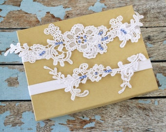 Wedding Garter Set, Sapphire Stone  Lace Wedding Garter, White Wedding Garter,Rhienstone Wedding Garter,Something Blue Garter Set,GT-80W