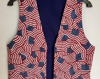 Foiled Flag Patriotic Fourth of July Men's Vest