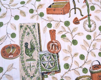 Vintage 50s 60s mid century modern fabric with roosters and kitchen items 2 yards retro pink green scrap craft supply diy curtains 78x36