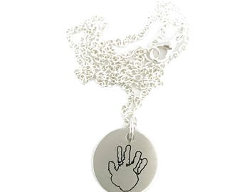 Actual Handprint Pendant Necklace - ACTUAL Handprint Pendant Pewter Custom Necklace Hand Stamped Personalized Jewelry - Engraved Jewelry
