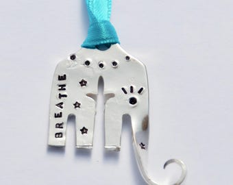 Elephant Ornament stamped BREATHE with Stars dots & Eyelashes // made from recycled fork // Teal Ribbon