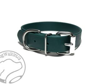 "NEW - Pine Green Biothane Dog Collar 1"" (25mm) Wide - Choice of: size and hardware - Stainless steel or Brass Hardware - Vegan Leather"