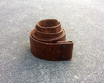 Leather Strap -- Handsome leather belt with a snap belt fastener -- Medium