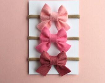 Pink Bow Set, Sailor Bows, Mini Bows, Baby Headbands, Nylon Headband, Baby Bows, Girls Hair Clips, Newborn Bow, Baby Hair Bows, Baby Girl