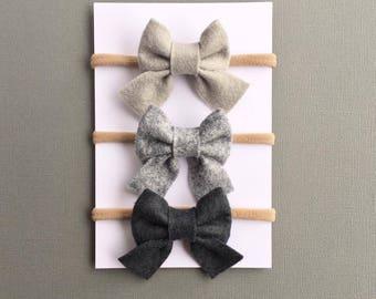 Sailor Bow Set, Baby Girl Headbands, Baby Bows, Baby Headbands, Nylon Headband, Gray Bows, Felt Bows, Hair Bows, Hair Clips, Newborn Bows