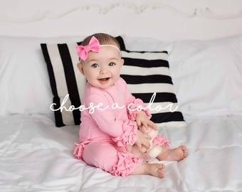 Baby Bows, Baby Headband, Baby Girl Headband, Newborn Headband, Pink Bow, Felt Bows, Nylon Headband, Baby Hair Clips, Girls Hair Bows