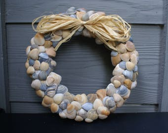"Seashell wreath - 8.5"" - blue wreath - coastal wreath - shell wreath - beach wreath - nautical wreath"