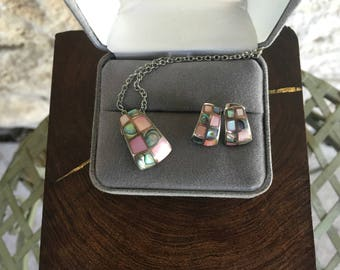 Southwestern Jewelry Pink Mother of Pearl and Abalone Inlay Necklace and Earrings Set Pink Shell Earrings Mexican Jewelry