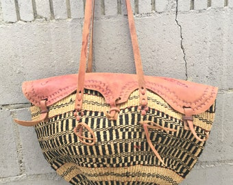 Sisal  Bag Woven Jute Purse Woven Purse with Leather Rope Straw Purse Ethnic Leather Woven Boho Purse African Market Bag