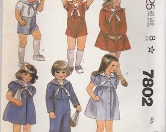 Kid's Sailor Suit or Dress Pattern Mccalls 7802 Size 6 Uncut