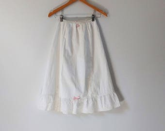 Vintage 1950s 1960s cotton half slip petticoat, embroidered petticoat, vintage lingerie,  size small