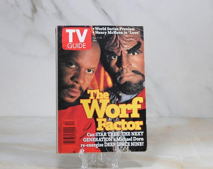Vintage TV Guide Star Trek Deep Space Nine. October 1995, Michael Dorn, Worf, Avery Brooks, Captain Sisko, World Series Preview, Baseball